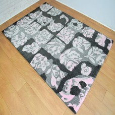 Abstract Floral Pink and Dark Grey Area Rug