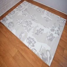 Abstract Floral Silver and Cloud Grey Area Rug