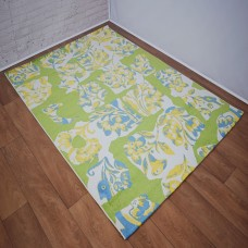 Abstract Floral Green/White and Yellow Area Rug