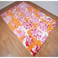 Abstract Floral Orange and Pink Area Rug