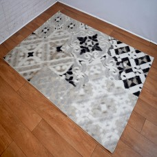 Modern Distressed Medallion Cream and Grey Area Rug