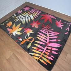 Floral Graduated Black & Multi-Coloured Area Rug