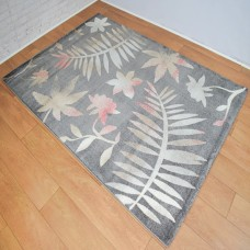 Floral Graduated Dark Grey and Rust Red Area Rug
