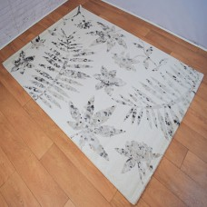 Floral Graduated Cream and Light Grey Area Rug