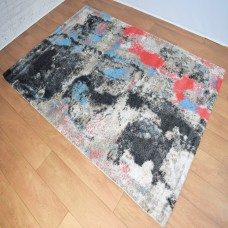 Abstract Black Grey and Rust Red Area Rug