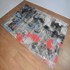 Abstract Black, Grey and Red Area Rug