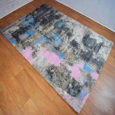 Abstract Dark Grey and Pink Area Rug