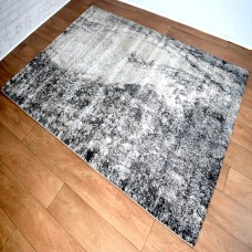 Abstract Wave Dark Grey & Gold Area Rug