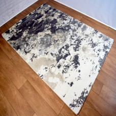 Abstract Blotted Marks Cream/Dark Grey Area Rug