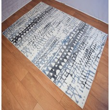 Abstract Lines Dark Grey and White Area Rug