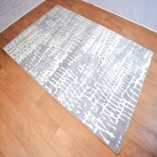 Abstract Lines Light Grey and White Area Rug