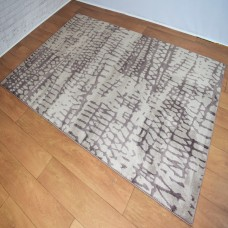 Abstract Lines Light Beige and Brown Area Rug