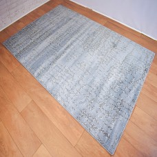 Abstract Lines Aqua and Dark Grey Area Rug