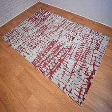 Abstract Lines Grey and Red Area Rug