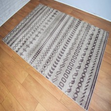 Funky Shapes Pattern Light Beige and Caramel Brown Area Rug