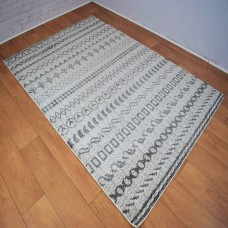 Funky Shapes Pattern Dark Grey and White Area Rug