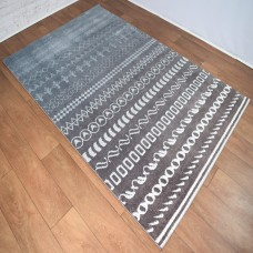 Funky Shapes Line Pattern Aqua and Caramel Area Rug