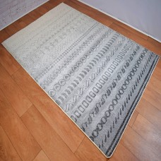 Funky Shapes Line Pattern Grey and White Area Rug