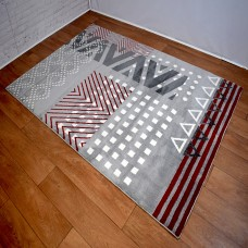 Modern Geometric Shapes Grey and Red Area Rug