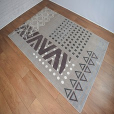Modern Geometric Shapes Beige and Brown Area Rug