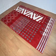 Modern Geometric Shapes Red White and Grey Area Rug