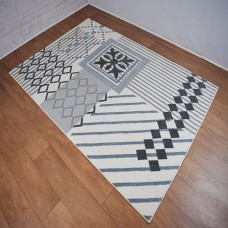 Modern Geometric Lines White and Grey Area Rug