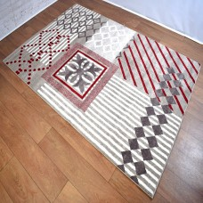 Modern Geometric Lines Beige and White with Red Area Rug