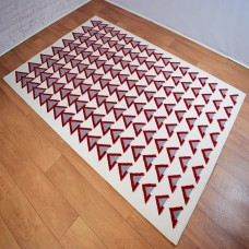 Modern Shapes White And Red Area Rug
