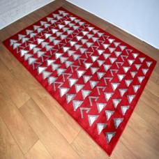 Modern Shapes Red and Dark Grey Area Rug