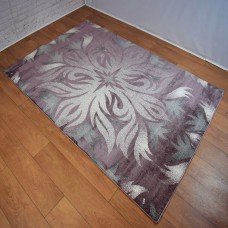 Modern Distressed Tribal Purple and White Area Rug