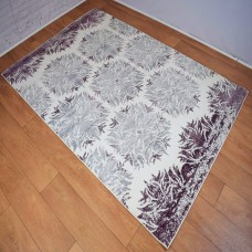 Modern Geometric Tribal Purple and White Area Rug