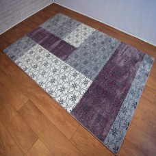 Modern Floral Block Colour Grey and Purple Area Rug