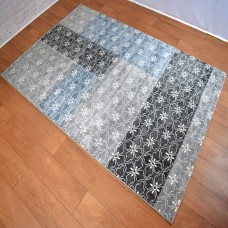 Modern Floral Block Colour Light and Dark Grey Area Rug