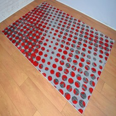 Modern Shapes Light Grey and Red Circles Area Rug