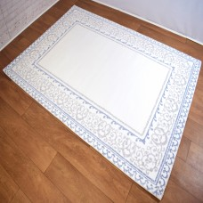 Traditional Border Patterned Blue, White and Beige Area Rug