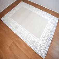 Traditional Border Patterned Silver Grey & White Area Rug