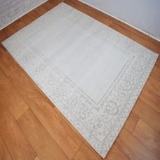 Traditional Border Patterned Grey, Silver Grey and Beige Area Rug