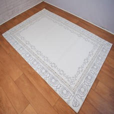 Traditional Border White, Beige and Grey Area Rug