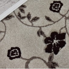 Kensington Cream/Brown Carved Floral Wilton Carpet