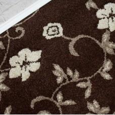 Kensington Brown/Beige Carved Floral Wilton Carpet
