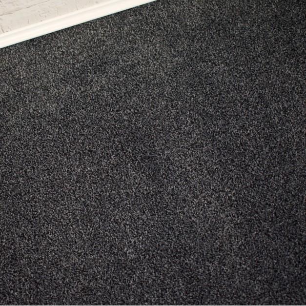 Conquest Black Grey Twist Pile Carpet Remnant 2.7m x 4m - FT1935